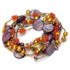 Extra Long Sparkling Mauve Gold MultiStrand Wrap by ALFAdesigns, $89.99