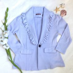 """SALENWT 525 America Knit Blazer Love, love, LOVE this NWT knit blazer from 525 America! Soft lavender color, Ruffled collar and even has front pockets! 52% cotton 33% acrylic 13% nylon 2% spandex. Dryclean only. Approx flat measurements: 23"""" length, 17"""" shoulder to shoulder, 19"""" armpit to armpit, 16.5"""" waist 525 america Jackets & Coats Blazers"""
