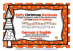 Dotty Christmas Dominoes 1 - 99 High-frequency German Verbs,  with 2 levels of challenge!