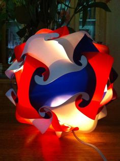 Red White and Blue Puzzle Lamp by GetLightMe on Etsy