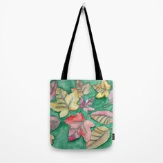 Fall Leaves Fall. Watercolor, ink, painting, autumn, color, yellow, brown, red, purple, seasons, poem, Emily Bronte, tote bag.