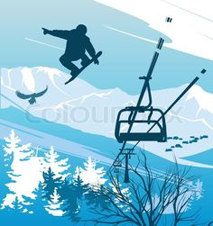 """Buy the royalty-free Stock vector """"Snowboarder on a background of mountains and ski lift"""" online ✓ All rights included ✓ High resolution vector file for. Snowboarding, Skiing, Surf, Ski Lift, Pen Art, Life Images, Vector Art, Silhouette, Mountains"""