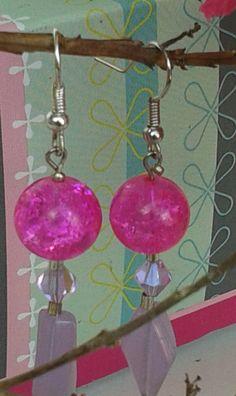 07: PINK DANGLE EARRINGS  women's or girls pink, 2 in a half inch long. by RettasBoutique on Etsy