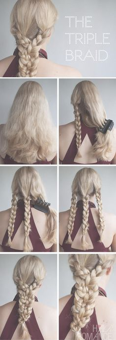 10 Charming Braided Hairstyles Tutorials for Summer I don't reeeally like how it looks on her head but I like the actual braid. Hair Romance - triple braid tutorial Vintage Michelle, for some reason this instantly made me think of you! Hair Romance, Braided Hairstyles Tutorials, Hairstyle Ideas, Simple Braided Hairstyles, Summer Hair Tutorials, Simple Hairdos, Step By Step Hairstyles, Stylish Hair, Girl Hairstyles
