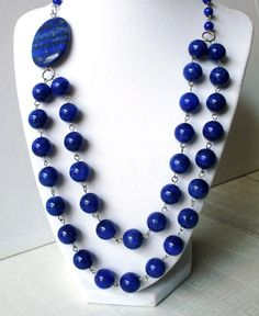 Image Detail for - Blue bead necklace, blue stone necklace, multi strand necklace.