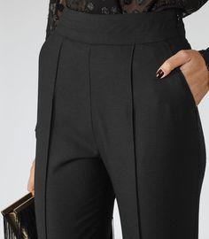 Womens Black Skinny Tuxedo Trousers - Reiss Eniko