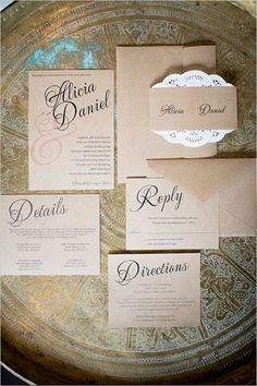 Kraft paper wedding invitation suite. Stationery: Seed To Sprout ---> http://www.weddingchicks.com/2014/05/20/italian-infused-rustic-chic-wedding/