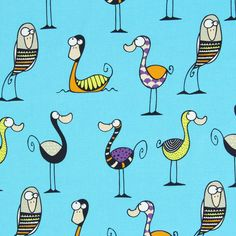 Cretonne Birdy - Algodón - turquesa
