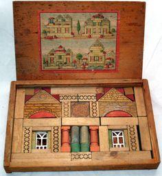 1899 Bliss Mapleleaf Richter Building Block Set Wooden Architectural Antique Toy | eBay