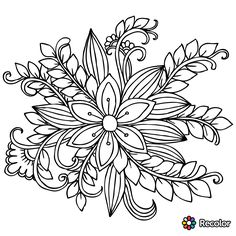 Flower Coloring Page 41 … | coloring | Color…