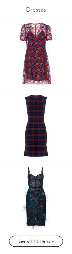 """Dresses"" by cataromero on Polyvore featuring dresses, vestidos, multi, red, american dress, low v neck dress, a line mini dress, daisy print dress, deep v neck dress y blue plaid dress"