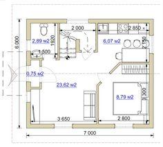 Планировка финского дома размером 6х7 Оптима-2