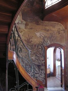 Hotel Hannon, Brussels - this would be gorgeous just because of the woodworking & railing, but, wow!