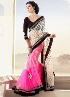 Latest Stunning Pink And Cream Net Half And Half Saree,Saree Online Shop - Party Wear Sarees Indian Bollywood, Bollywood Fashion, Indian Sarees, Bollywood Style, Indian Wedding Outfits, Indian Outfits, Indian Clothes, Indian Weddings, Wedding Dresses