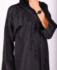 Eid Collection 2018 - Abaya Collection No. 4 - Black beads hand work elegant Abaya To order pls DM or whatsapp 971508810011 Photographer: Model: Dubai Top Abayas Designs Feeds By SUB Niqab Fashion, Modest Fashion Hijab, Fashion Shoot, New Abaya Style, Abaya Designs Dubai, Modern Abaya, Stylish Hijab, Black Abaya, Kurti Embroidery Design