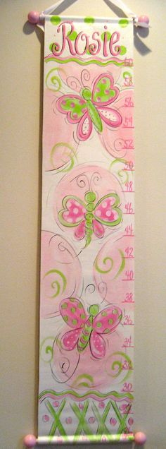 Hand Painted Canvas Growth Chart by SassyfrasDesignz on Etsy
