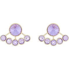 Henri Bendel On Point Stud Ear Jacket ($55) ❤ liked on Polyvore featuring jewelry, earrings, lt purple, earrings jewelry, purple jewelry, purple earrings, steel jewelry and purple stud earrings