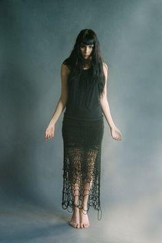nerthus black openknit maxi skirt by SHOPMORPH on Etsy, $190.00