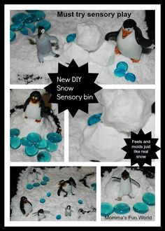 """Momma's Fun World: Make your own """"Fake"""" sensory snow - 3 cups baking soda, ½ cup hair conditioner…. Winter Fun, Winter Christmas, Christmas Crafts, Winter Theme, Winter Craft, Winter Ideas, Sensory Bins, Sensory Play, Sensory Table"""