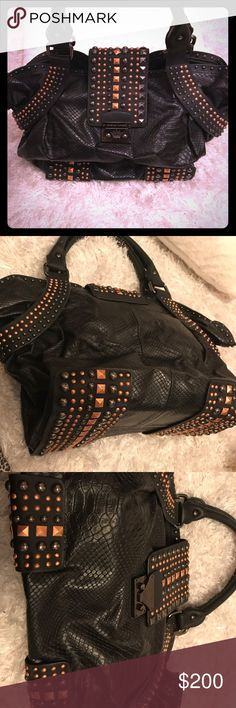 Christian audigier purse NWOT OFFERS no trades Black alligator print with studs Tory Burch Bags Shoulder Bags