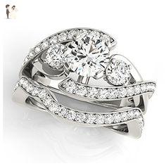 14K White Gold Unique Wedding Diamond Bridal Set Style MT50942 - Wedding and engagement rings (*Amazon Partner-Link)