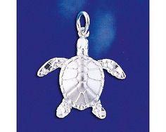 Sterling Silver Sea Turtle Pendant Italian Sea Beach Charm Solid 925 Italy New