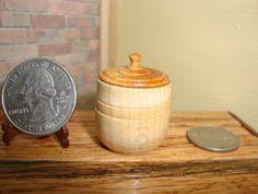 "Dollhouse Miniature 1:12 Cookware & Tableware Canister w Lid OOAK by ""Oppi"" #HO6 #HandcraftedMiniaturesbyOppi"