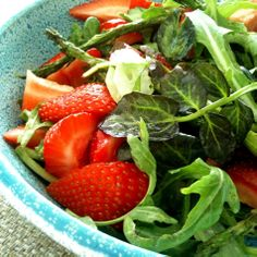 Grilled Asparagus & Strawberry Salad with Coconut Vanilla Dressing