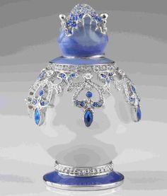 Blue & White Faberge Egg by Keren Kopal Home Decor Collectors Box Russian…