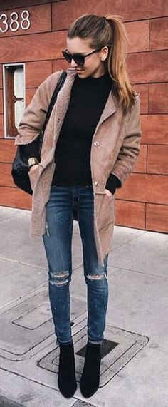 winter fashion camel coat black knit
