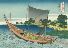 千絵の海 総州利根川 - Katsushika Hokusai,The Tone River in Sōsyu Province (Sōsyu Tonegawa) c 1832