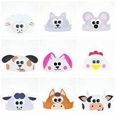 11 Farm Animals Paper Crowns Set. DIY Paper Hats by ShapaLapa