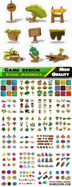 Векторная коллекция элеменов, иконок для дизайна: деревья, животные, планеты, стрелки, пираты, оружие   Game design elements vector