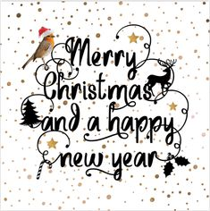 Unieke enkele kerstkaart met sier krulletters in handlettering, koper gekleurde confetti op de ondergrond, sterren en kerst icoontjes! En Engelse kerst teksten!