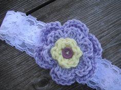 lilac yellow soft baby crochet headband by EllaDory on Etsy, $7.00