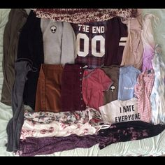 Brandy Melville Collection  Second pic: alien patch crew - varsity wylie flannel - maroon veena - blush layla - black moselle Third pic: pink & white striped sammy - I hate everyone ali - new york ali - olive alien patch tee - gray & red striped ringer Fourth pic: rose nicolette - grey ribbed abigail - maroon skirt - brya- olive luana - JADAS: rainbow floral - purple floral - pink floral - lavender ombre - blue tie dye - black & lavender tie dye Unlisted: white alien patch hat, gray darling…
