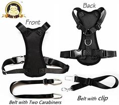 CatYou Durable Pet Car Safety Harness for Dog Cat  2Pack Nylon Pet Car SeatBelt Restraint Tether Medium Harness2Pack Belts Black -- For more information, visit image link.