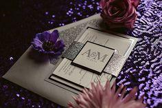 DIANE Suite Fancy Glitter Package, silver wedding invitation, formal wedding invitation, glitter wedding invitation, glitter belly bands for invitations