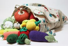 Crochet play food set pcs) Crochet vegetables and fruits Montessori toys for toddlers Montessori Toddler, Toddler Play, Montessori Toys, Yellow Apple, Red Apple, Crochet Fruit, Crochet Toys, Kids Crochet, Granny Square Pattern Free