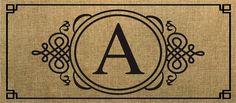 Evergreen Sassafras Switch Mat  Burlap Monogram A 431021A NEW