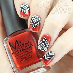 Red, Black and White Nail Stamping