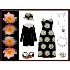 """My ""Dew Covered Waterlily"" Dress & Hat"" by artist4god-rose-santuci-sofranko on Polyvore"