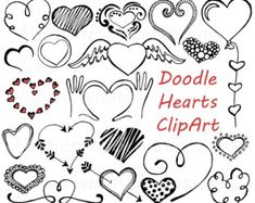 400 free awesome clip art graphics clip art graphics and hand big set of doodle hearts clipart heart clip art digital voltagebd Choice Image