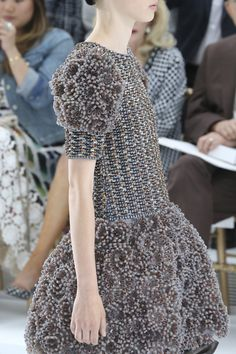 Short beaded dress with sculptural 3D textures - couture fashion details; surface embellishment // Chanel