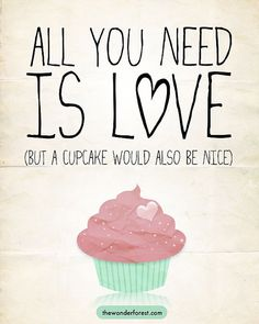 All You Need Is Love Cupcake Print 8x10 Funny Art by WonderForest, $15.00