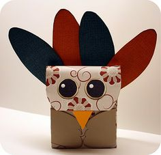 This is a turkey bag she made from a template, but suggested using a pre-made bag to do more than one.  Perhaps I could make something similar with my class?  I like the idea of scrapbooking paper to jazz it up a bit.  Too cute!