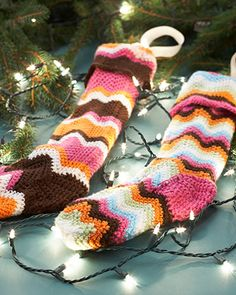 Match your stockings perfectly to your home decor with funky striped stockings in the wide shade range of Bernat Satin!