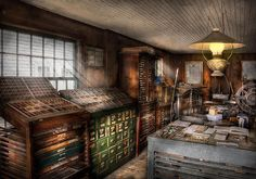 Art print by Mike Savad - Typecases and Print shop - great detail.  Many print shops still look like this.