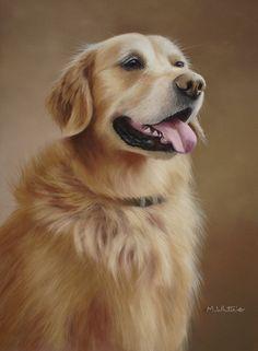 Original Pastel Painting Of Beau, Golden Retriever