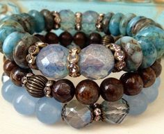 Rustic Trio Stretch Bracelet Stack by CountryChicCharms on Etsy, $68.00